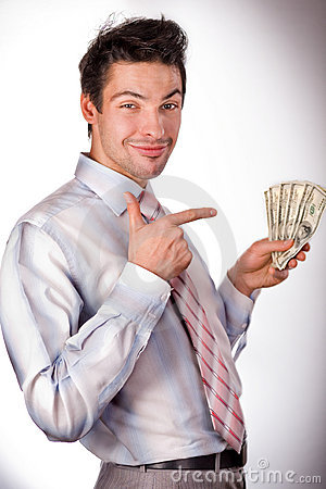 Free Man Holding Money Royalty Free Stock Image - 4410386