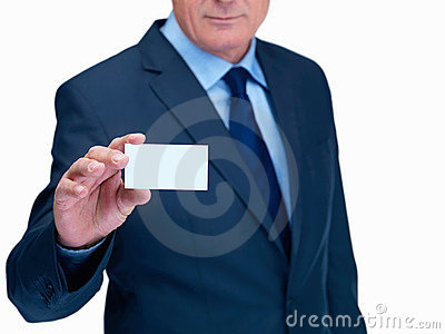 Man holding out a blank card on white