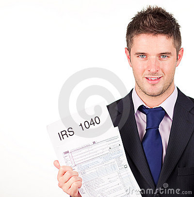 Man holding out his irs returns form