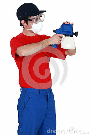 Free Man Holding Paint Sprayer Stock Photography - 30022322