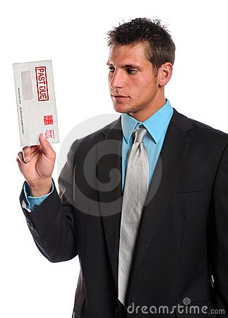 Man Holding Past Due Envelope
