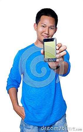Man holding PDA