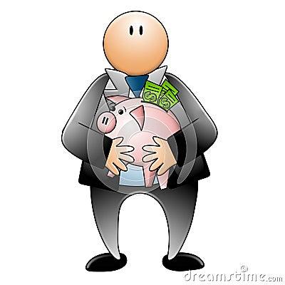 Man Holding Piggy Bank Dollar Bills