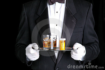 Man Holding Pills and Cocktail on Silver Tray