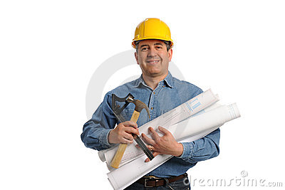 Man holding plans and tools