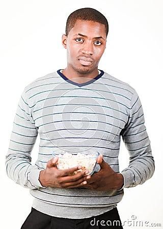 Free Man Holding Pop Corn Royalty Free Stock Photos - 10538428