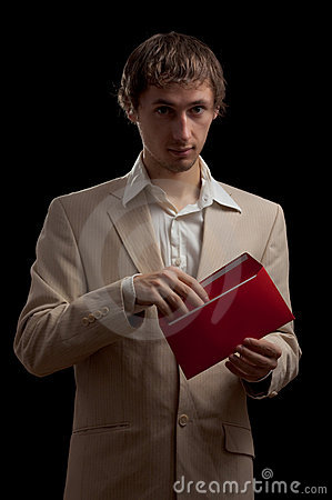 Man holding red letter