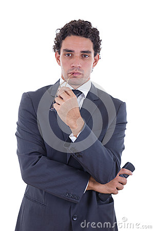 Man holding the remote while watching TV