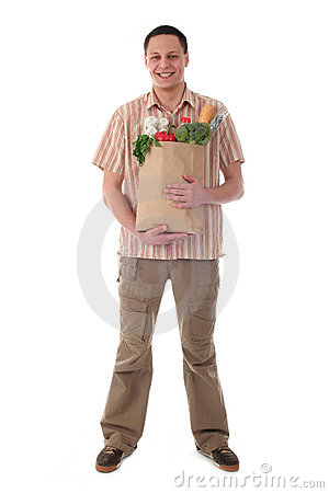 Man holding shopping bag