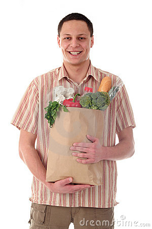 Free Man Holding Shopping Bag Royalty Free Stock Photo - 702455