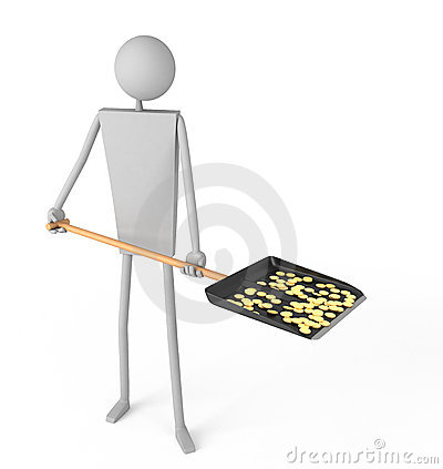 Man holding a shovel with coins