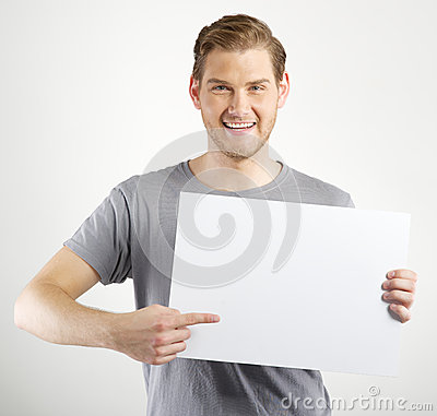 Free Man Holding Sign Royalty Free Stock Photography - 40792997