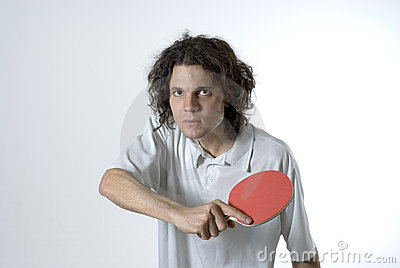 Man Holding a Table Tennis Paddle - Horizontal
