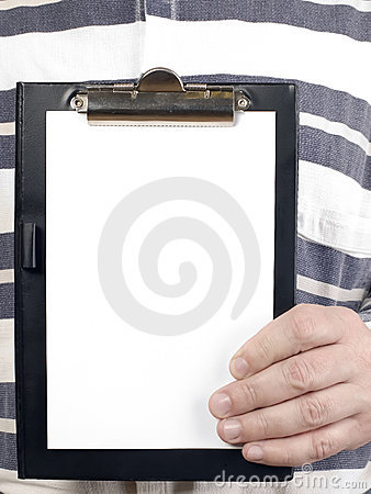 Man is holding tablet for writing