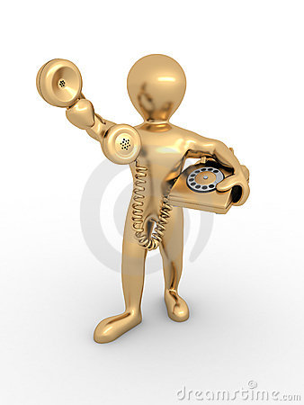 Man holding a telephone receiver