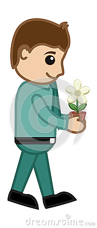 Man Holding a Tiny Flower Plant - Business Vector
