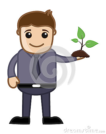 Man Holding a Tiny Plant Vector