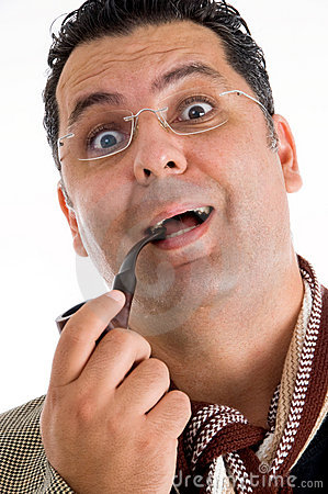 Man holding tobacco pipe giving amazed expression