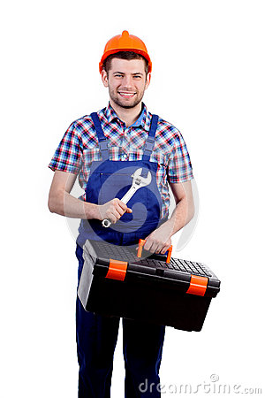 Man holding toolbox and wrench