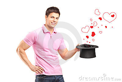 Man holding a top hat and hearts coming out