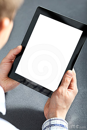 Man holding a touchpad