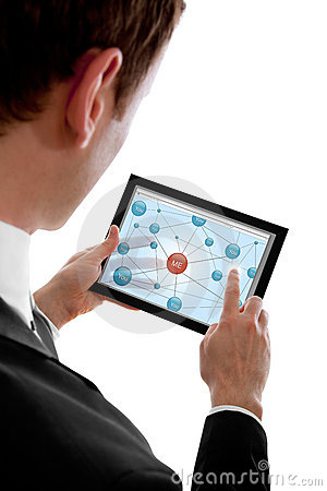 Man holding a touchpad pc and showing social netw