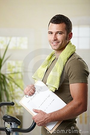 Free Man Holding Training Plan Royalty Free Stock Image - 13339446