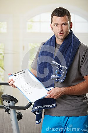 Man holding training plan