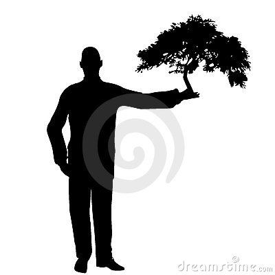 Man Holding Tree In Hand