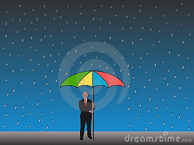 Man holding umbrella in rain
