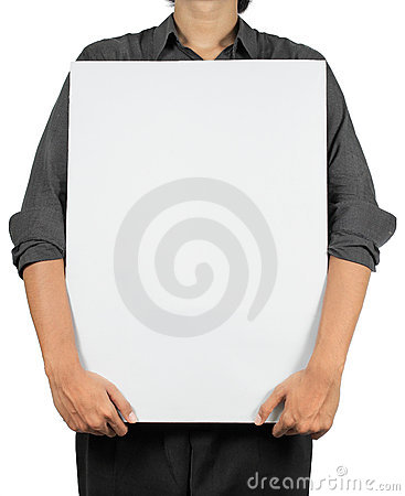 Man holding white board