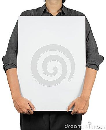 Man holding white board
