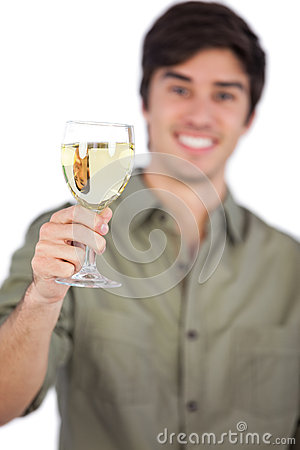 Free Man Holding White Wine Glass Royalty Free Stock Photography - 32513287