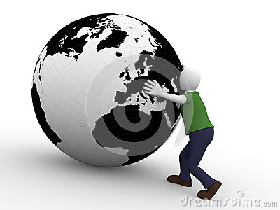 Man holding the world