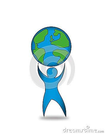 Man holding the world