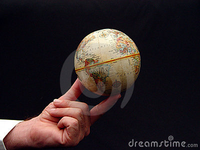 Man Holding World Globe in Color