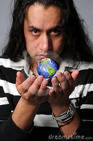 Man holding world in hands