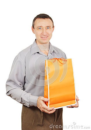 Man holds a bag for shopping