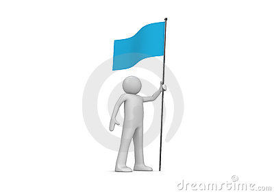 Man holds blue flag on flagpole