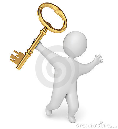 Man holds the key in his hand