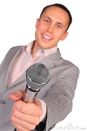 Free Man Holds Microphone In Hand Stock Photo - 4865230