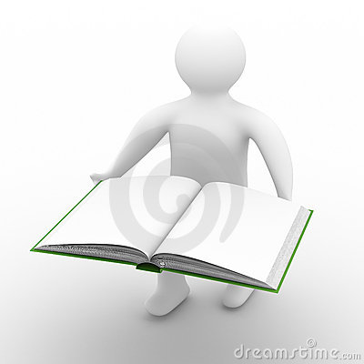 Man holds open book on white background