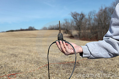 Man holds Sensor Geophones