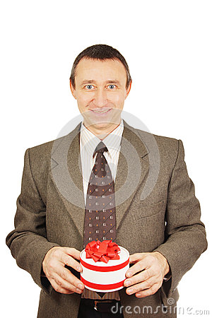 Man holds a small gift with ribbons