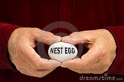 Man holds white egg with NEST EGG written on it