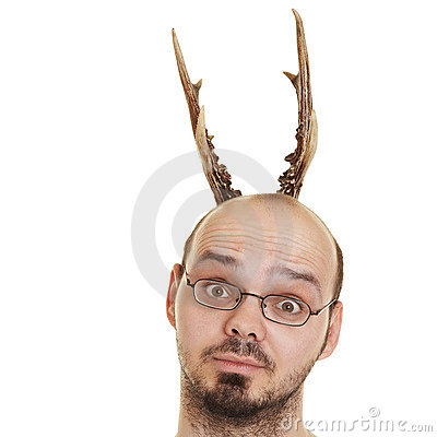 Man with horns on head