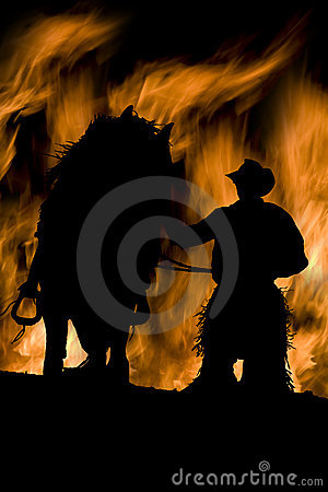 Man and horse in flames