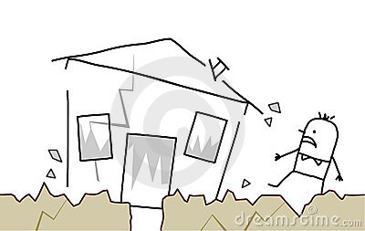 Man with house & earthquake