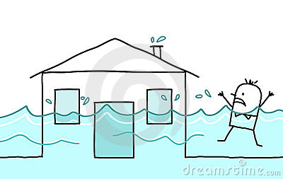 Man with house & flood