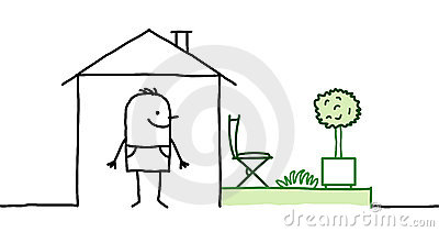 Man & house with garden